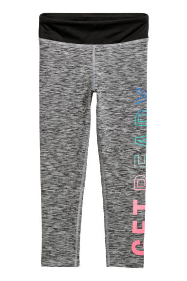 Sports tights - Dark grey marl/Get Ready - Kids | H&M CN