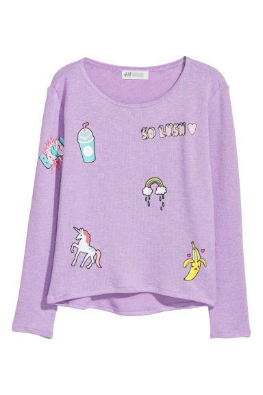 Fine-knit printed jumper - Light purple/So Lush - Kids | H&M