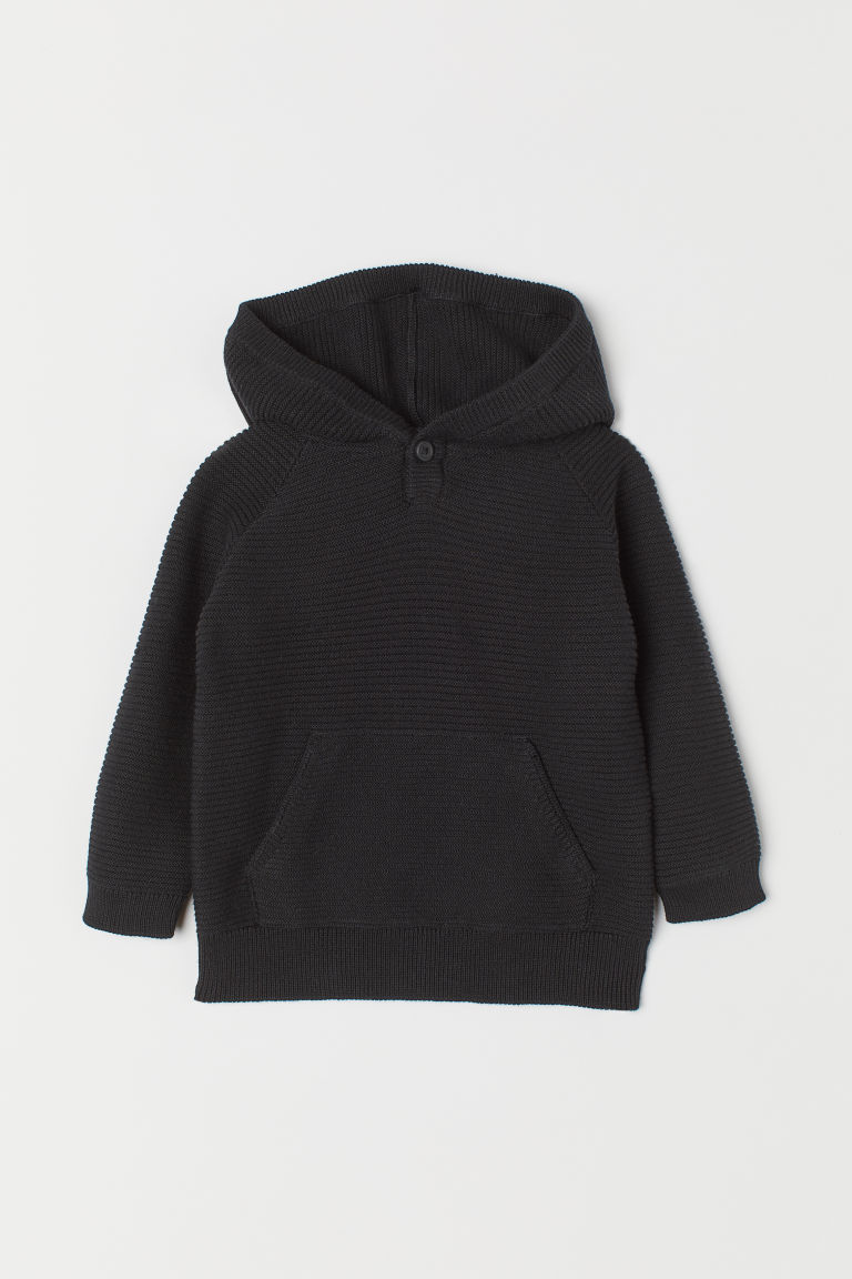 Knitted hooded jumper - Black - Kids | H&M CN