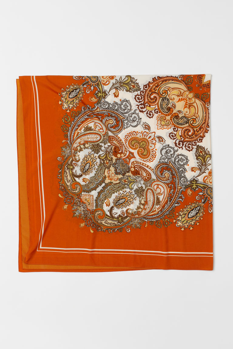 Patterned Scarf - Orange/paisley-patterned - Ladies | H&M US