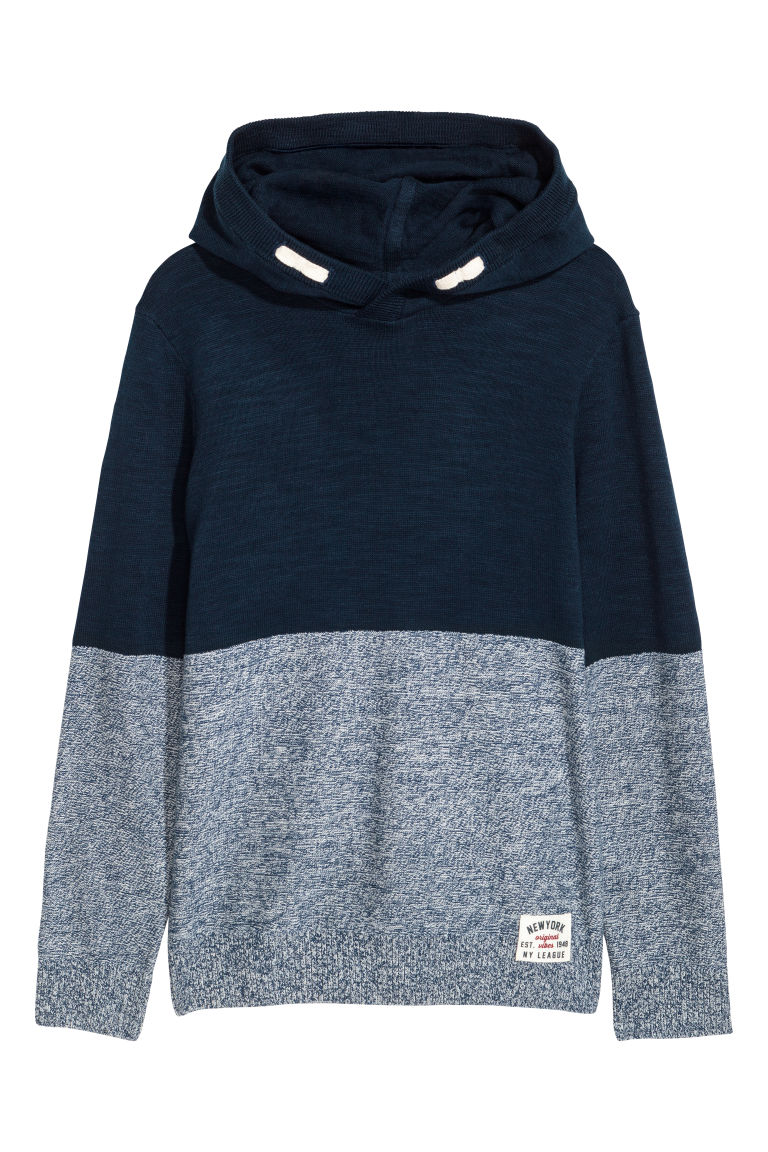 Knitted hooded jumper - Dark blue - Kids | H&M CN