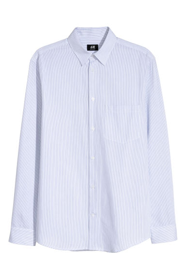 Cotton shirt Regular fit - White/Blue striped - Men | H&M CN