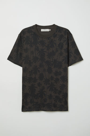 Patterned T-shirt - Dark grey/Palm trees - Men | H&M CN