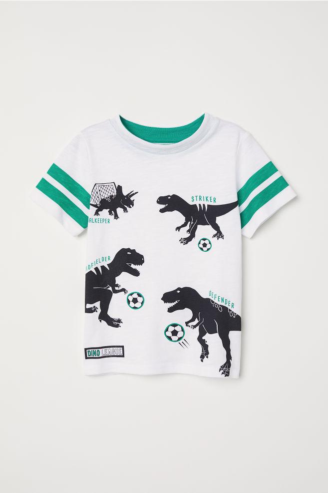 d7bde77a Slub Jersey T-shirt - White/Soccer dinosaurs - Kids   H&M ...