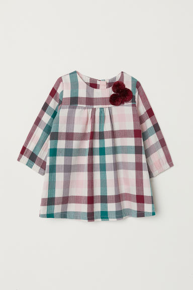 Long-sleeved cotton dress - Light beige/Checked - Kids | H&M