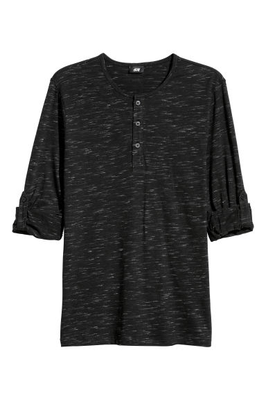 Cotton jersey Henley shirt - Black marl - Men | H&M