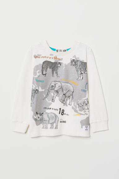 Jersey top with a print motif - White/Animals - Kids | H&M CN