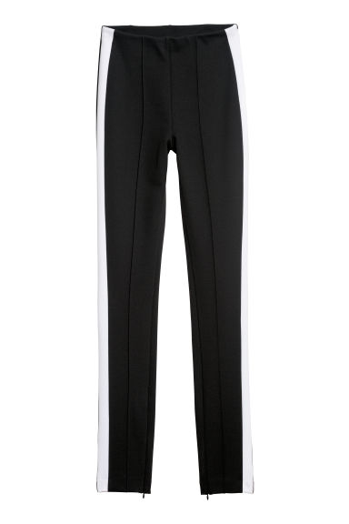 Fitted trousers - Black/White -  | H&M IE