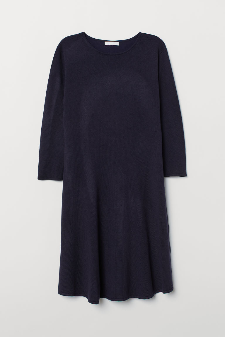 Fine-knit dress - Dark blue - Ladies | H&M CN
