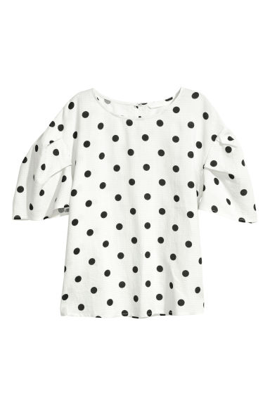 Blouse - White/Spotted -  | H&M