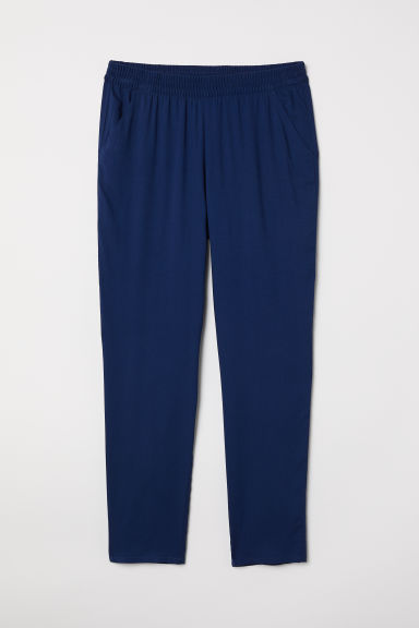 Elasticated viscose trousers - Dark blue - Ladies | H&M CN