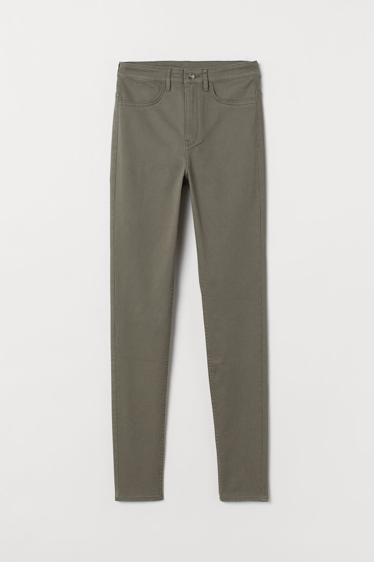 Super Skinny High Jeans - Khaki green -  | H&M