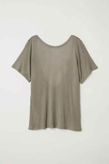 Top with a low-cut back - Khaki green -  | H&M
