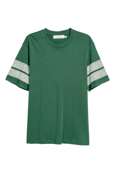 Printed T-shirt - Dark green/Striped - Men | H&M