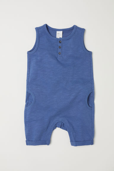 Sleeveless cotton romper suit - Blue -  | H&M