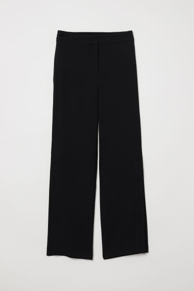 Wide trousers with buttons - Black - Ladies | H&M