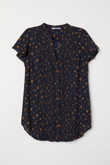 Blouse with pin-tucks - Dark blue/Floral - Ladies | H&M