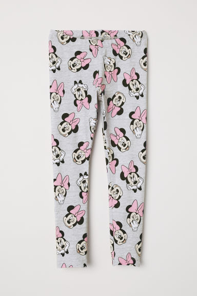 Leggings with a print motif - Light grey marl/Minnie Mouse - Kids | H&M CN