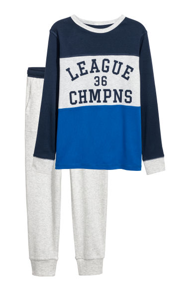 Jersey pyjamas - Bright blue/Block coloured - Kids | H&M CN