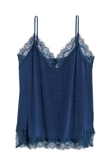 Strappy top with lace - Dark blue -  | H&M