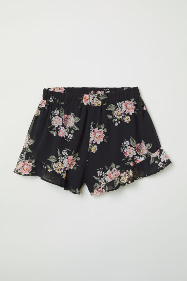 Frill-trimmed chiffon shorts - Black/Floral - Ladies | H&M CN