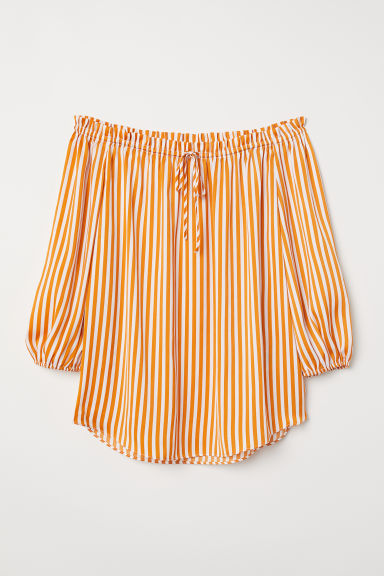Off-the-shoulder blouse - Amber-coloured/Striped - Ladies | H&M