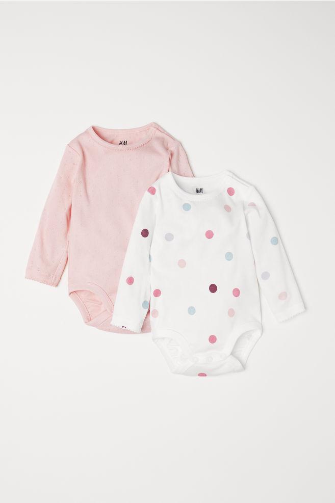 5c65c86bd 2-pack Long-sleeved Bodysuits - Light pink dotted - Kids