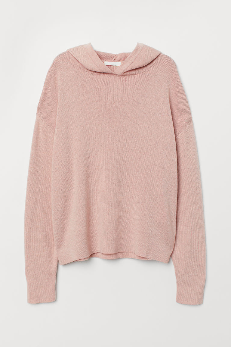 Fine-knit hooded jumper - Old rose - Ladies | H&M CN