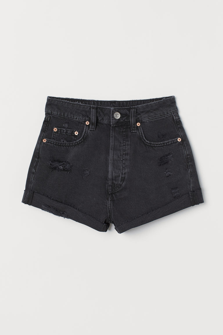 Denim shorts High Waist - Black washed out -  | H&M