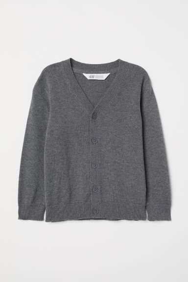 Fine-knit cardigan - Dark grey - Kids | H&M