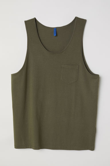 Vest top with a chest pocket - Dark khaki green -  | H&M