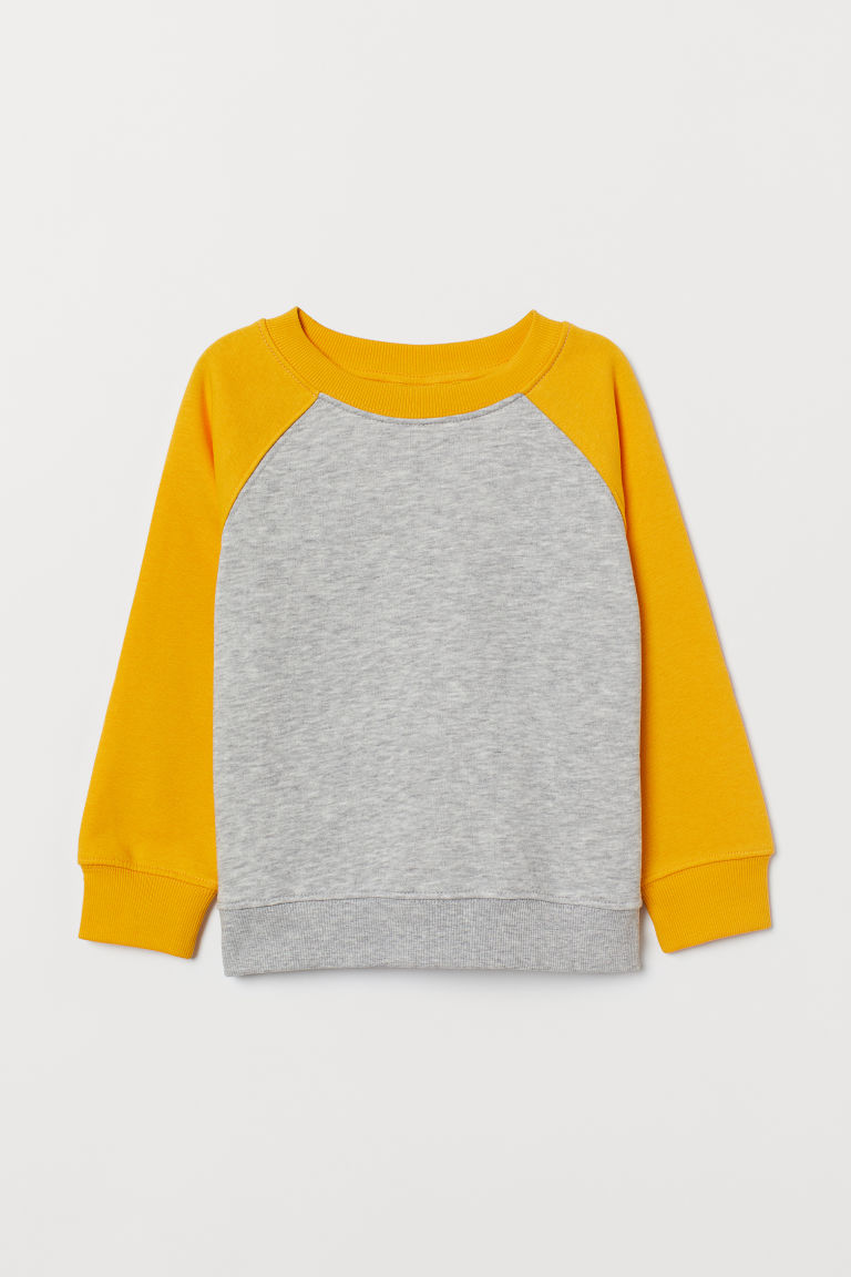 Sweatshirt - Light grey marl/Yellow - Kids | H&M CN