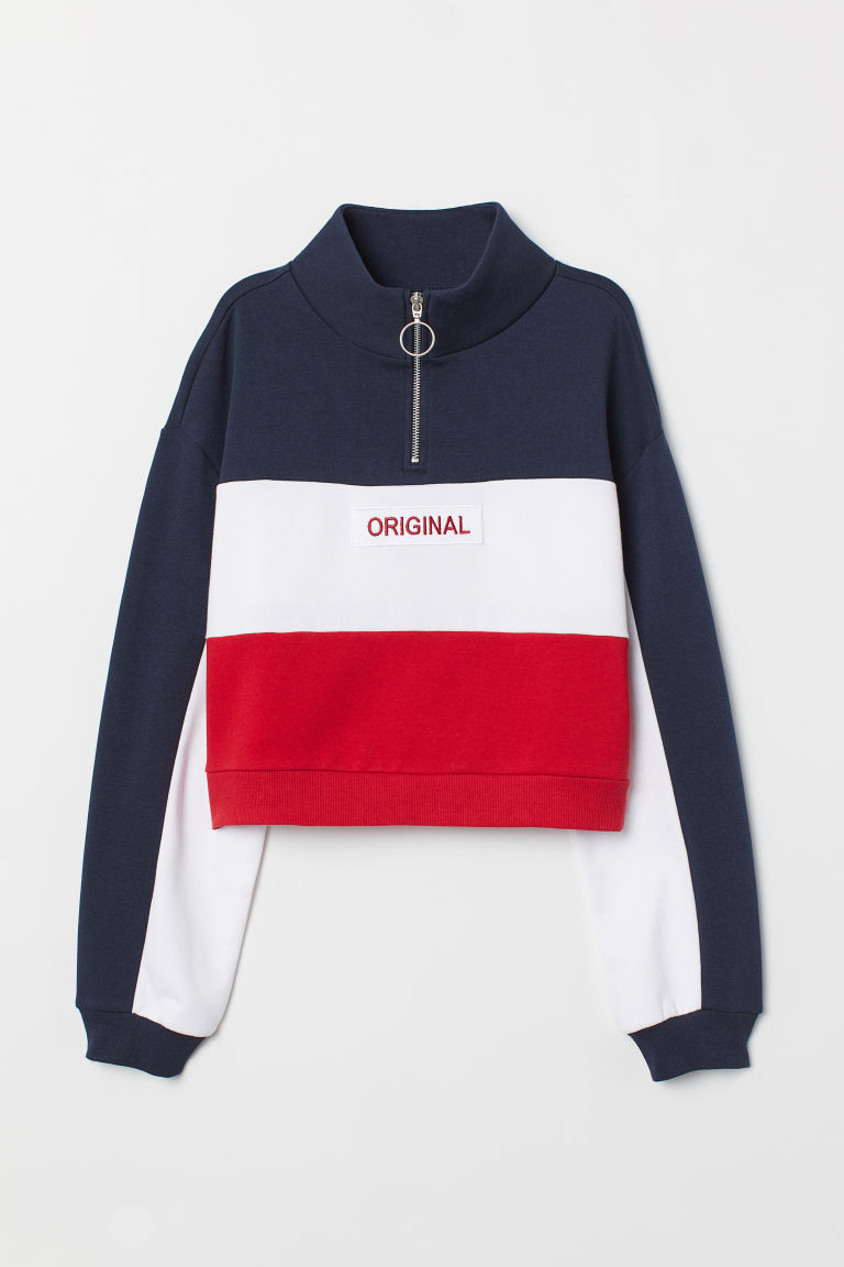 Stand-up collar sweatshirt - Dark blue/Block-coloured -  | H&M CN