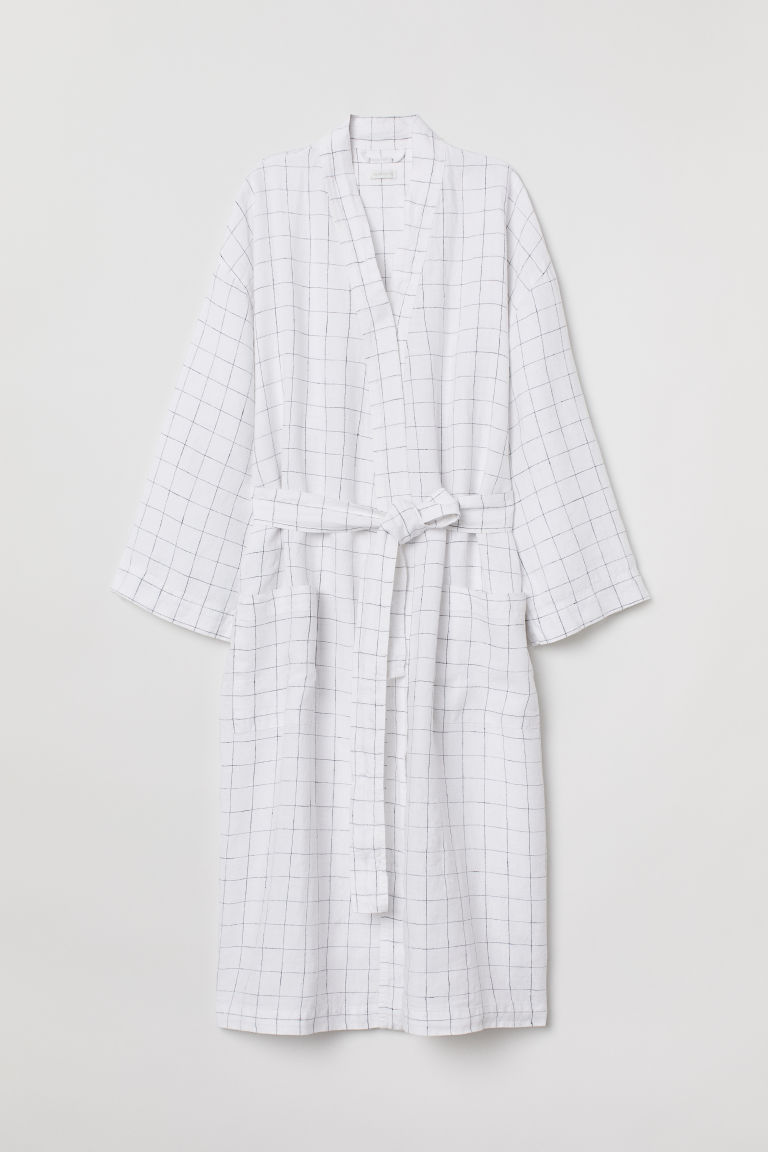 Washed Linen Bathrobe - White/checked - Home All | H&M US