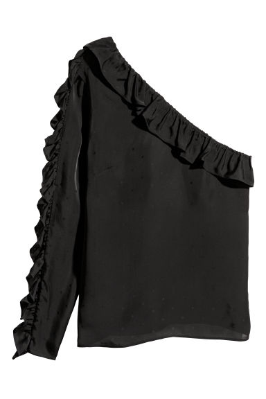 One-shoulder blouse - Black - Ladies | H&M GB