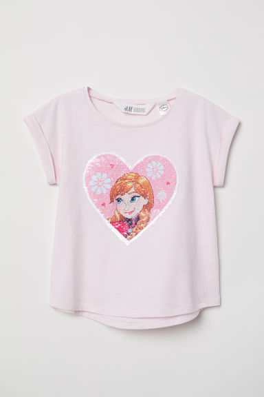 Reversible sequin T-shirt - Pink/Frozen - Kids | H&M CN