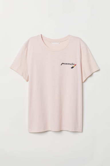 T-shirt with Motif - Light pink/lipstick - Ladies | H&M US