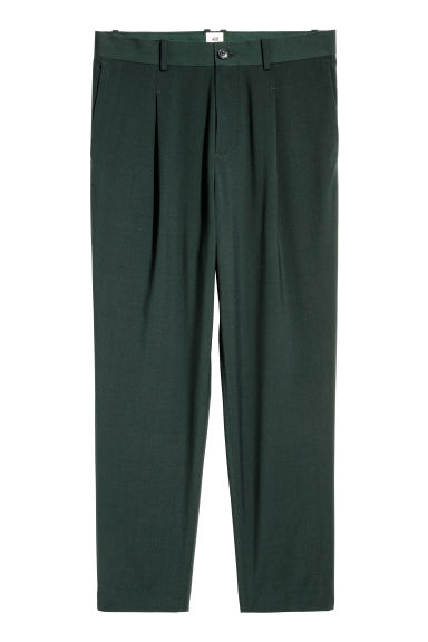 Trousers with sewn-in pleats - Dark green -  | H&M CN