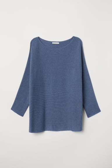 Rib-knit jumper - Blue marl -  | H&M