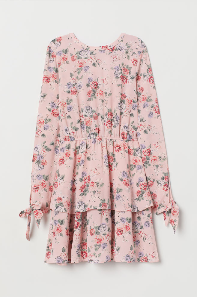 40f41e67fea ... Tiered dress - Light pink/Floral - | H&M ...