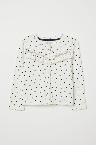 Cardigan with frills - Natural white/Spotted - Kids | H&M CN