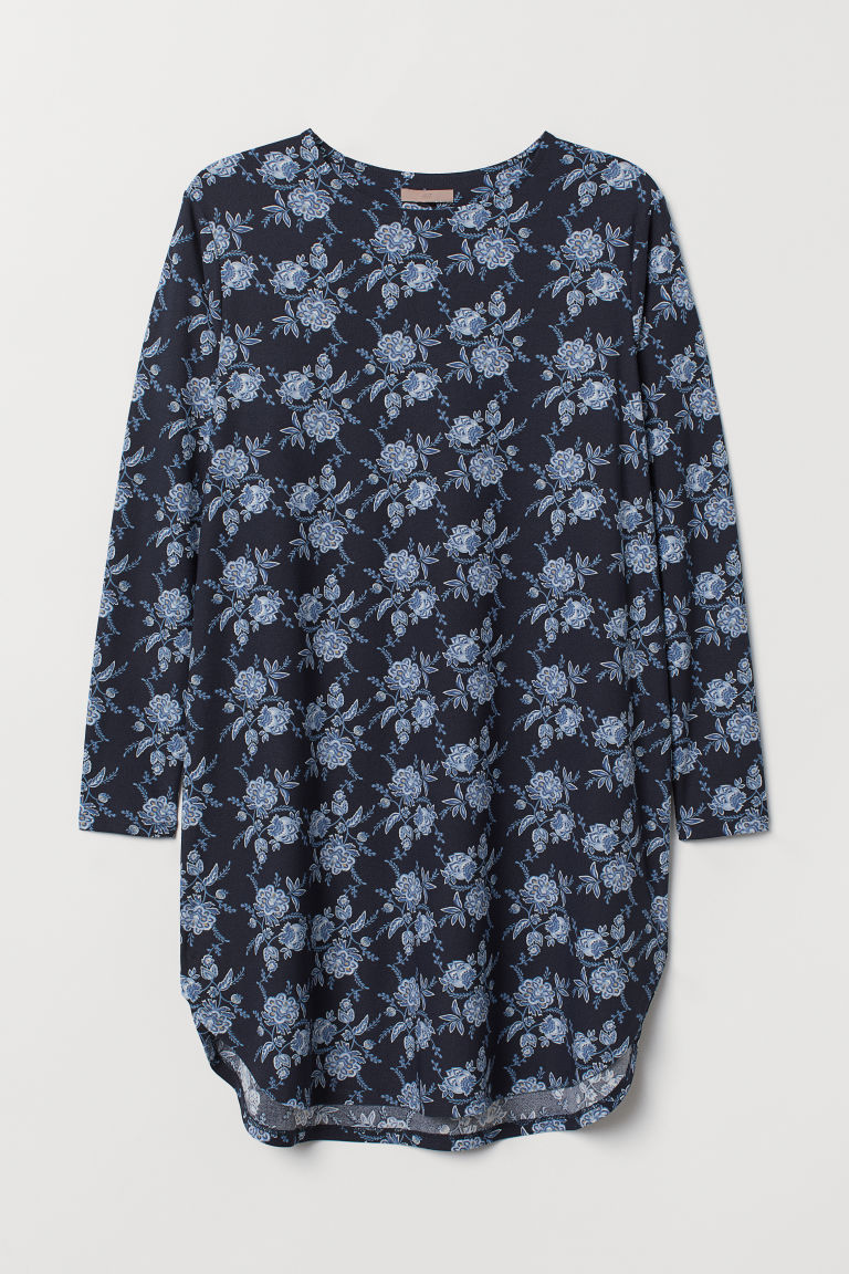 H&M+ Jersey tunic - Dark blue/Patterned - Ladies | H&M