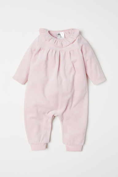 Velour all-in-one pyjamas - Light pink - Kids | H&M