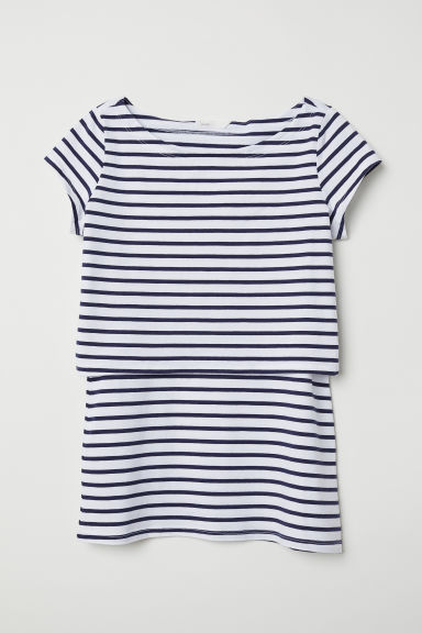 MAMA Nursing top - White/Dark blue striped - Ladies | H&M