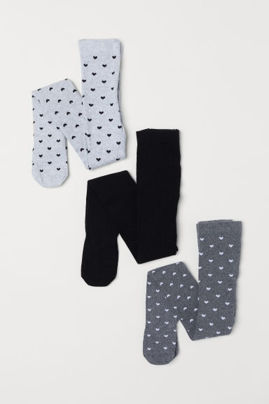 3-pack tights - Light grey/Hearts - Kids | H&M
