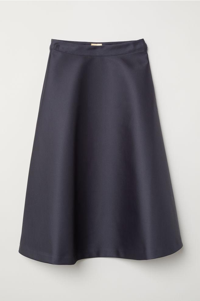ba09d06ed Flared satin skirt - Dark grey - Ladies | H&M ...