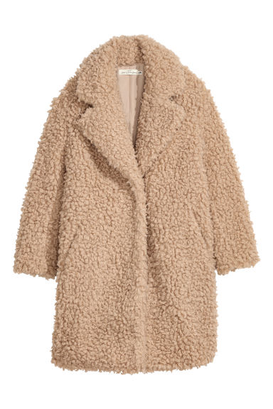 Faux fur coat - Light beige -  | H&M