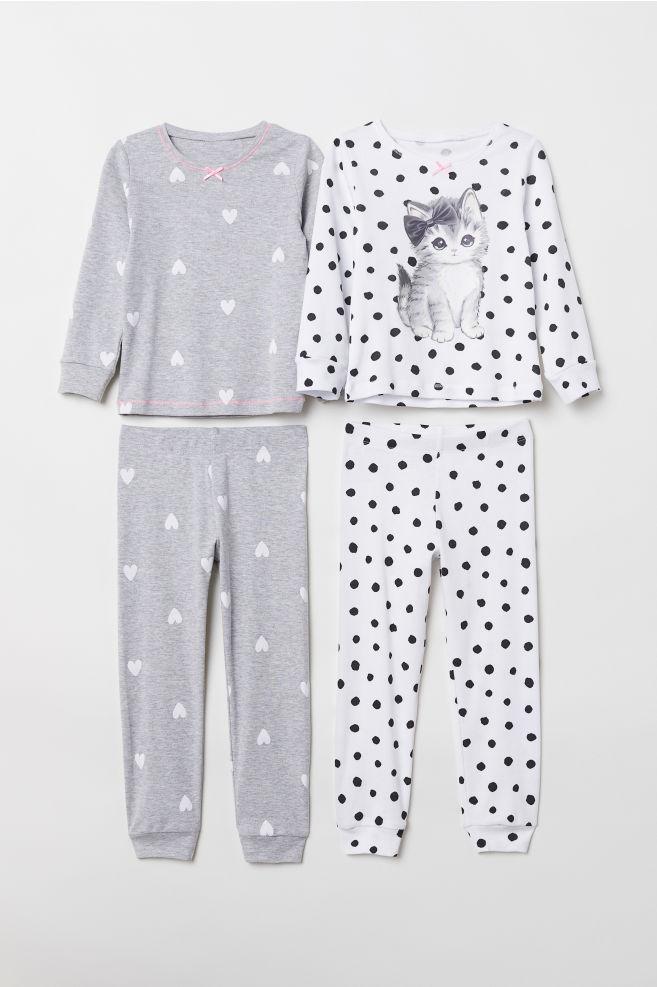 61bb19d66 2-pack jersey pyjamas - White Cat - Kids