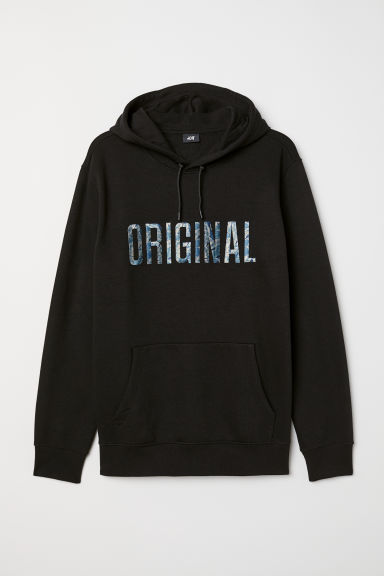 Printed hooded top - Black - Men | H&M CN