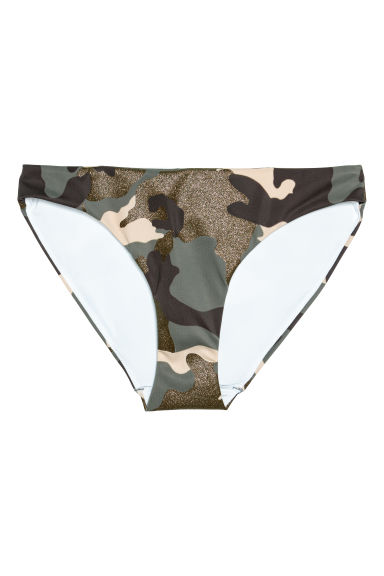 Bikini bottoms - Khaki green/Patterned - Ladies | H&M CN